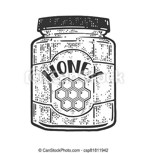 jar of honey sketch engraving vector illustration. T-shirt apparel print design. Scratch board imitation. Black and white hand drawn image. - csp81811942