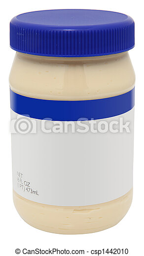 Jar of Mayonaise with blank label - csp1442010