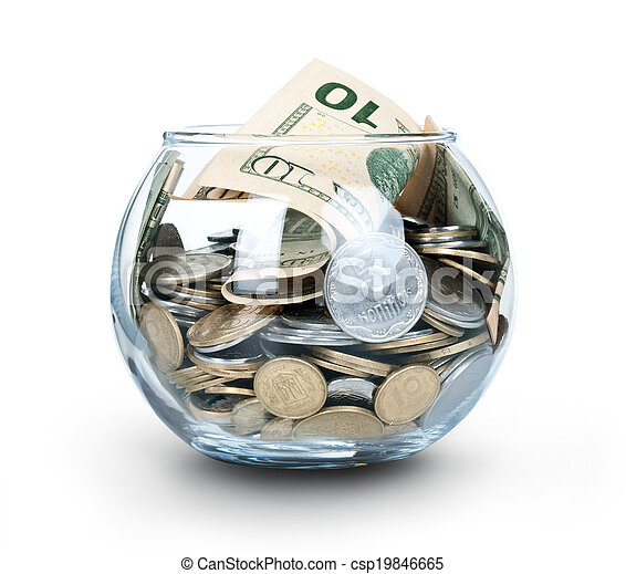Jar of Money Isolated on a White - csp19846665