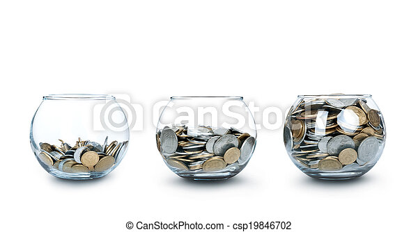 Jar of Money Isolated on a White - csp19846702