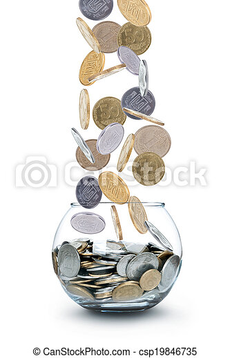Jar of Money Isolated on a White - csp19846735