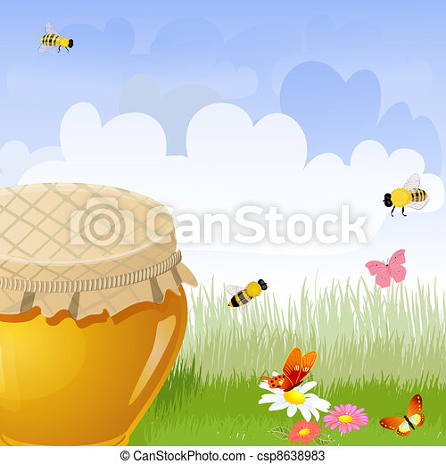 jar sweet honey in the flower meadow Illustration contains a tra - csp8638983