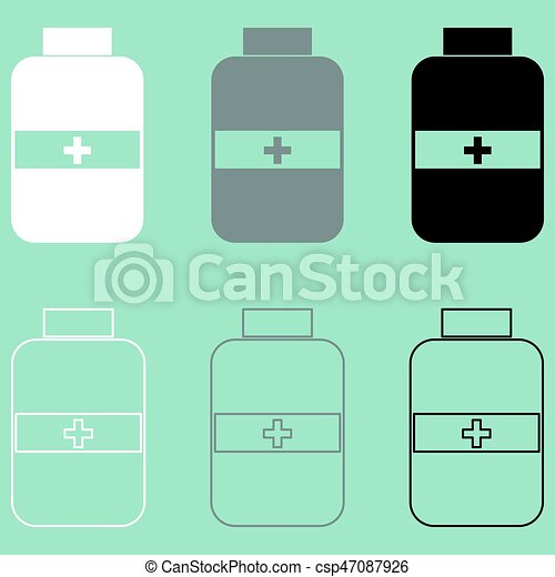 Jar with pill white grey black icon. - csp47087926