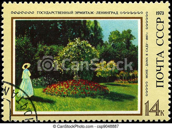 USSR - CIRCA 1973 dama en el jardín - csp9048887
