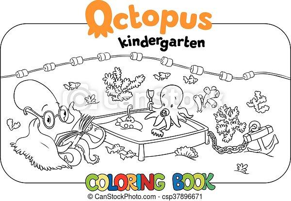Jardín de la infancia, colorido, pulpo, libro. Divertido, libro ...