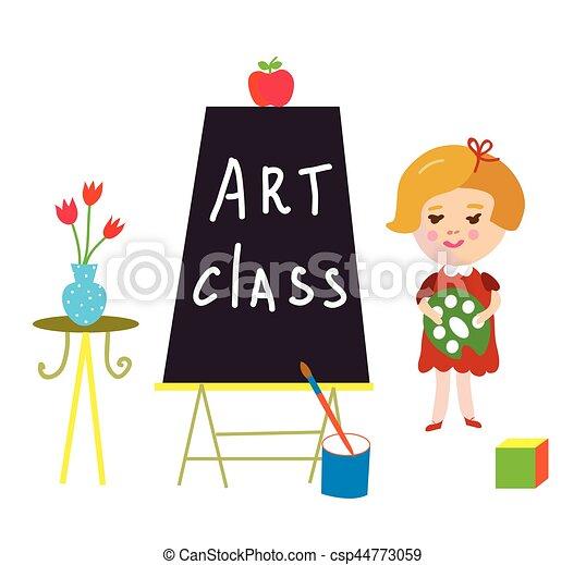 Tarjeta de clase de arte con niños y comida para la guardería - csp44773059