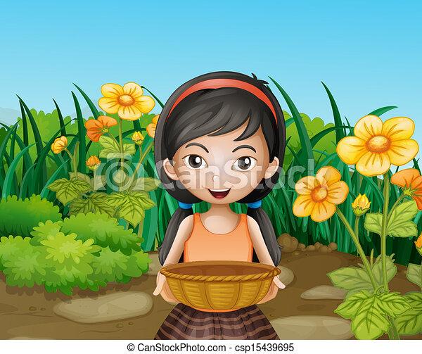 Una joven sosteniendo una canasta vacía en el jardín - csp15439695