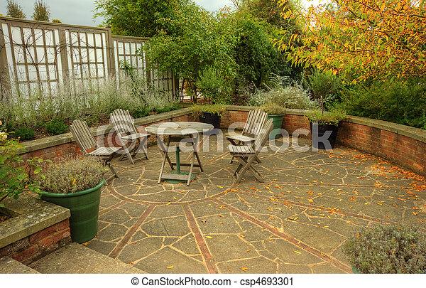 Jardín, sillas, país, otoño, escena, banco, otoño, inglés. Jardín ...