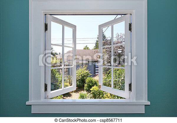 jarda, costas, janela, pequeno, shed., abertos - csp8567711