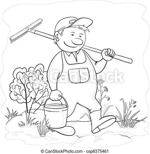 jardim, ancinho, contorno, jardineiro - csp6375461