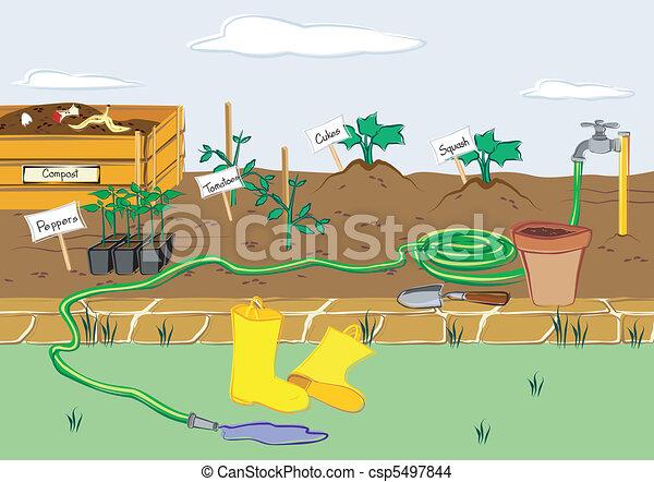 jardim, aparelho arranque - csp5497844