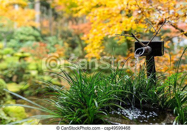 Jardin, arbre, japonaise, fontaine eau, bambou, érable image de ...