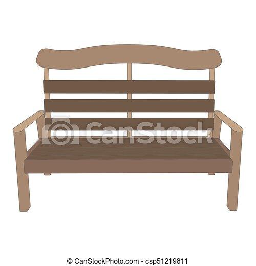 jardin, bois, parc, isolé, illustration, banc, vecteur, fond, vue