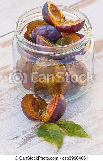 jardin, bois, pot, verre, tas, table, prunes