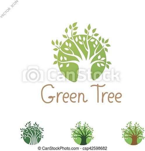 Jardin, concept., arbre, créatif, vecteur, vert, logo, cercle ...