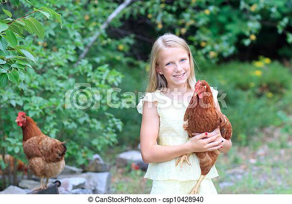 jardin, elle, poulets, jeune, blond, girl - csp10428940