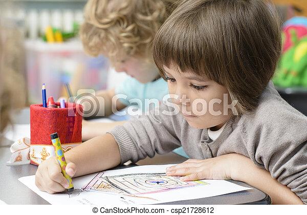 jardin enfants, gosses, dessin - csp21728612