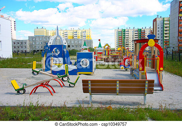 jardin enfants, nouveau, ville, secteur - csp10349757
