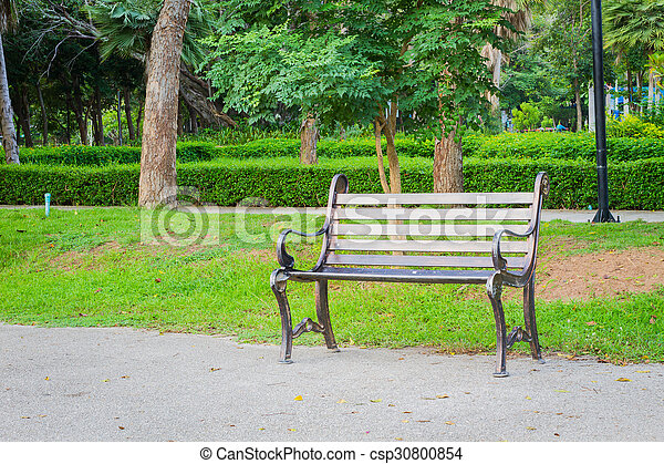 jardin, métal, béton, vert, behind., chaise, herbe, terrestre - csp30800854