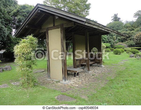 jardin, maison, japonaise, repos, buisson, bambou