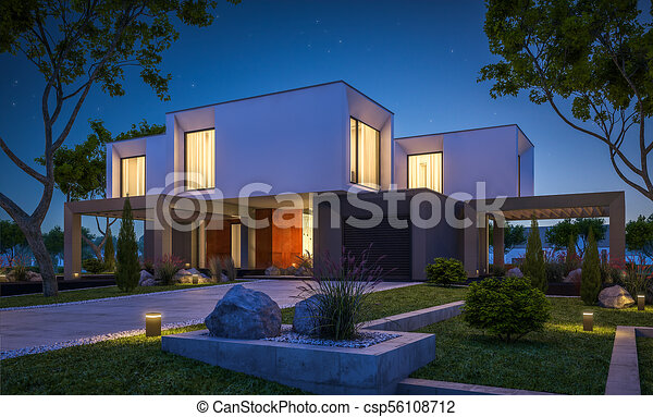jardin, maison, moderne, rendre, nuit, 3d