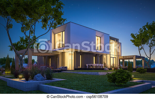 Jardin, maison, moderne, rendre, nuit, 3d. Beau, été, confortable ...