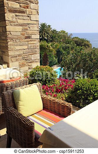 jardin, négligence, osier, (greece), méditerranéen, terrasse, mer,  fauteuil, café