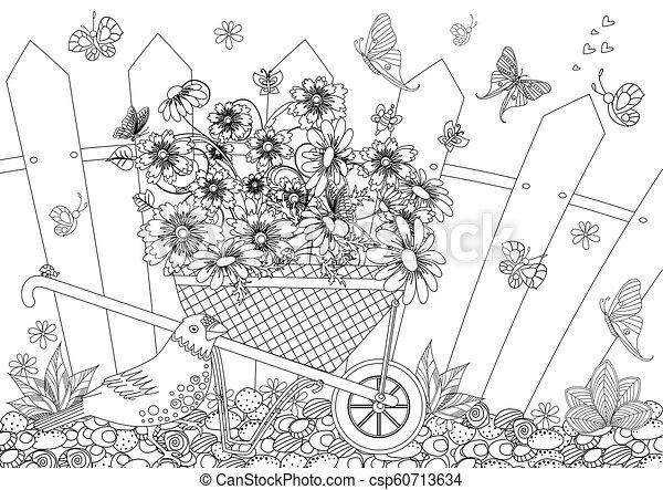 jardin, rustique, joli, brouette, y, fleurs, paysage - csp60713634