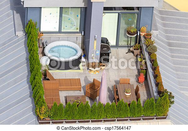 Jardin Toit Jacuzzi Vert Terrasse Baquet
