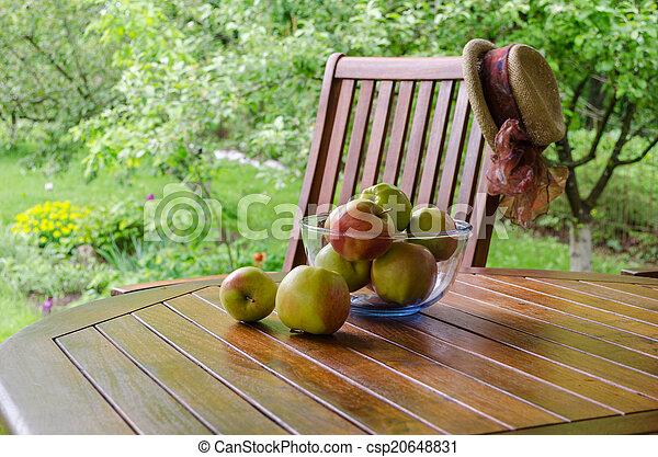 jardin, verre, tonnelle, pommes, plat, table