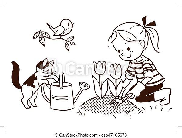 Jardinage printemps ligne dessin anim petit girl for Site de jardinage en ligne