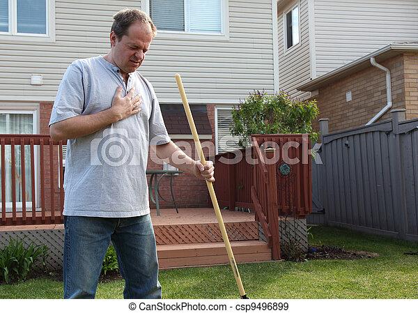 jardinagem, peito, enquanto, dores, tendo, homem - csp9496899