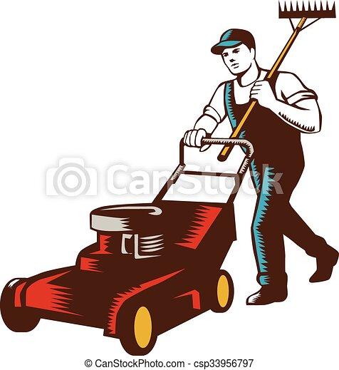 jardineiro, woodcut, mower, ancinho gramado - csp33956797