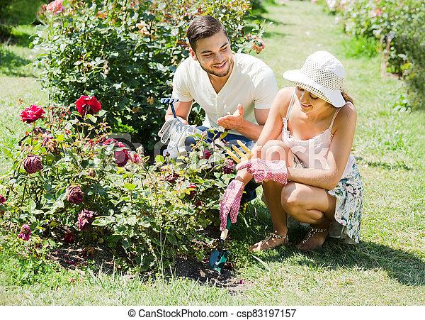 jardinería, familia joven - csp83197157