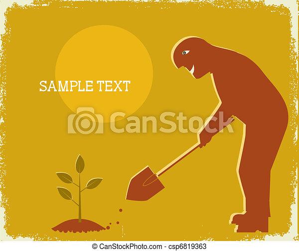 Gardener cavando por pala. Vector poster - csp6819363