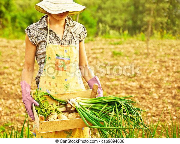 jardinier, fonctionnement, heureux - csp9894606