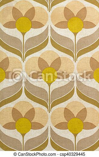 Wonderbaarlijk Jaren '60, behang. Bruine , oud, behang, gele, jaren '60, bloemen. ZD-25