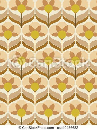 Welp Jaren '60, bloem, behang. Bruine , oud, behang, gele, jaren '60 JF-92