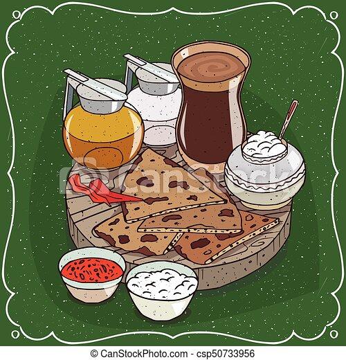 jarro, chá, chai, mel, indianas, masala, leite - csp50733956