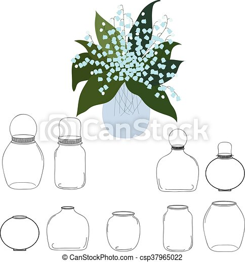 Jars set, bouquet of lilies  the valley in jar, vector illustration - csp37965022