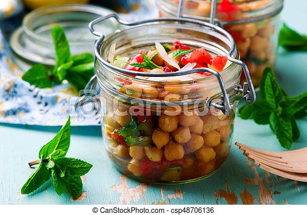 jar..style, almoço, grão-de-bico, rustic., salada - csp48706136