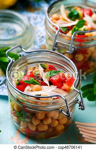 jar..style, almoço, grão-de-bico, rustic., salada - csp48706141