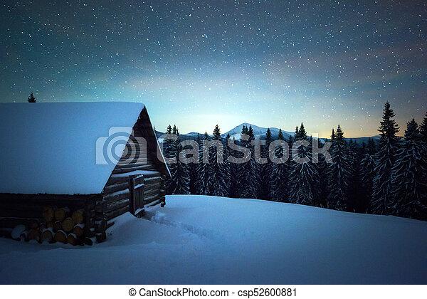 jarzący się, mleczny, krajobraz, droga, noc - csp52600881