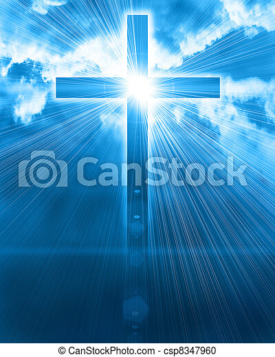 jarzący się, niebo, krzyż - csp8347960