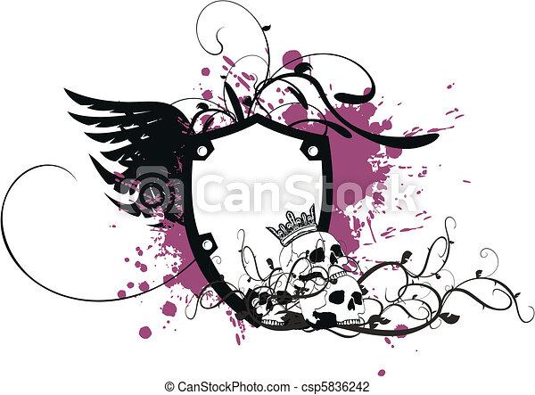 jas, heraldisch, armen, skull8 - csp5836242