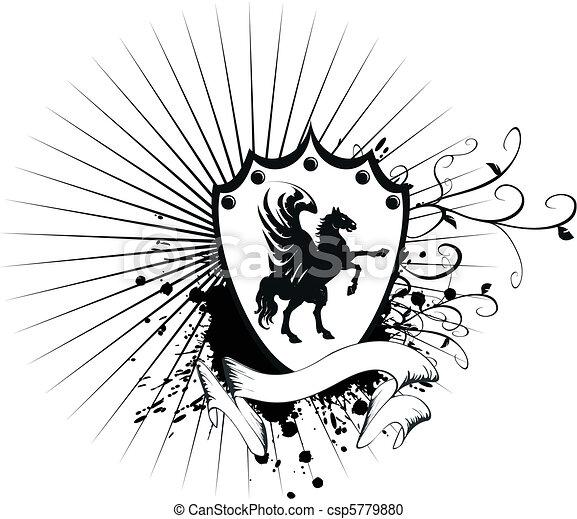 jas, paarde, heraldisch, 7, armen - csp5779880