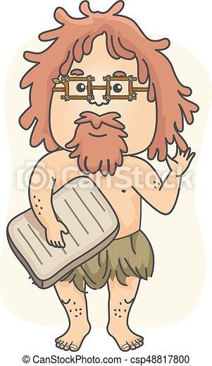 jaskiniowiec, historyk, nauczyciel, ilustracja, człowiek - csp48817800