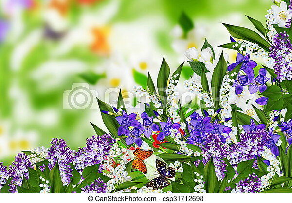 jasmine flowers, iris and lily of the valley - csp31712698