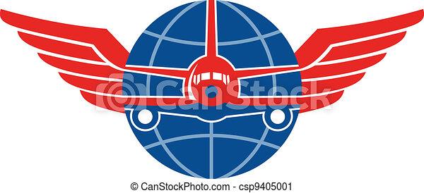 jato, globo, gigante, avião, frente, asas - csp9405001