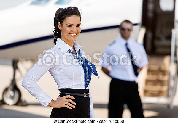 jato, privado, fundo, airhostess, sorrindo, piloto - csp17818850